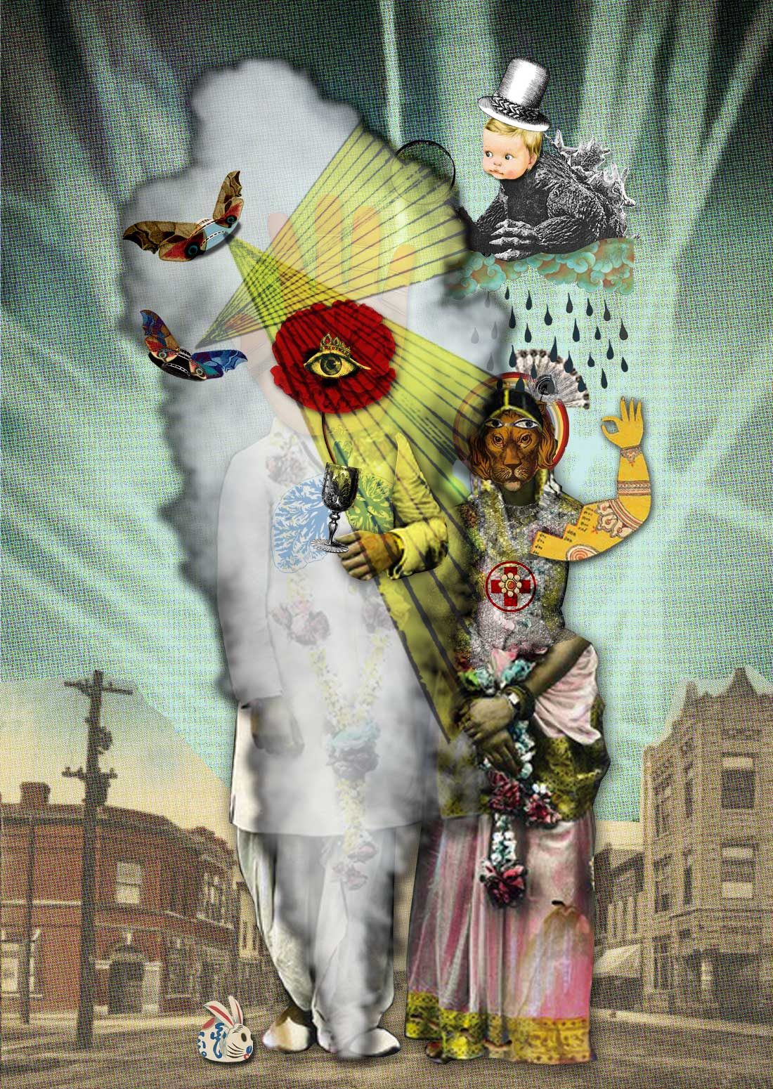 Severine Perrier illustrateur Freelance illustration collage papier art fantaisie luxe exotisme mode gravures anciennes histoires à raconter installation assemblage
